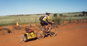 Riding backroads through farmland near Geraldton, WA