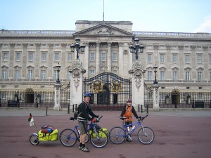 Day 1 - Riding past Buckinham Palace on our way to the official start at Trafalgar Square