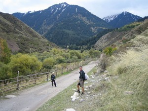 Hiking up to the mountain hut from Karakol