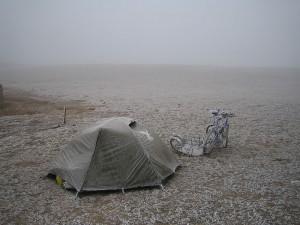 A cold camp near Lake Sailimu Hu. Western China