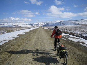 A fairly cold and difficult environment but probably the highlight of our trip was riding across the edge of the Tibetan plateau. This shot shows the high plains interspersed with lung busting climbs through mountain passes. We were riding at altitudes of over 3500 metres with our maximum altitude reaching about 4800 metres.