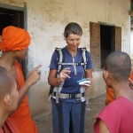 Young monks we visited giving Gaye language lessons (note the phrase book in hand). Some spoke good English but had never spoken to a native English speaker before. They invited us to stay but unfortunately it was early in the day and we had some kilometres to do.