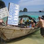 Floating shop at a popular island beach