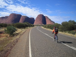 Gaye arriving at the Olgas. We did the 'Valley of the Winds' walk here..fantastic!