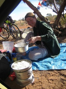 Gaye cooking up a storm. Our favourite thing once back in Australia was being able to bush camp virtually anywhere.