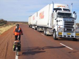 Road train on the Stuart Highway near Coober Pedy. SA. Australia