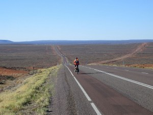 Nearing Pt Augusta. The old dirt 'Stuart Hwy' cuts across to the right.