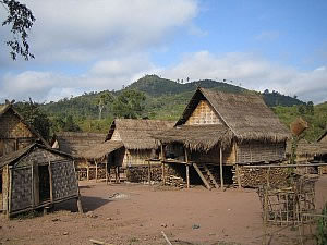 Typical dwellings in Northern Laos