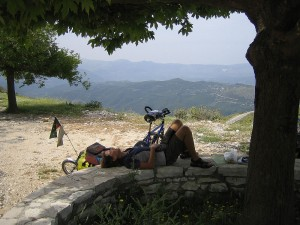 Gaye relaxing(exhausted actually) enroute across the Pindos Mountain Range. Central Greece