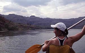 Gaye paddling the Ord River, Kununurra, WA