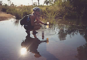 Collecting water on the Old Karunjie Track