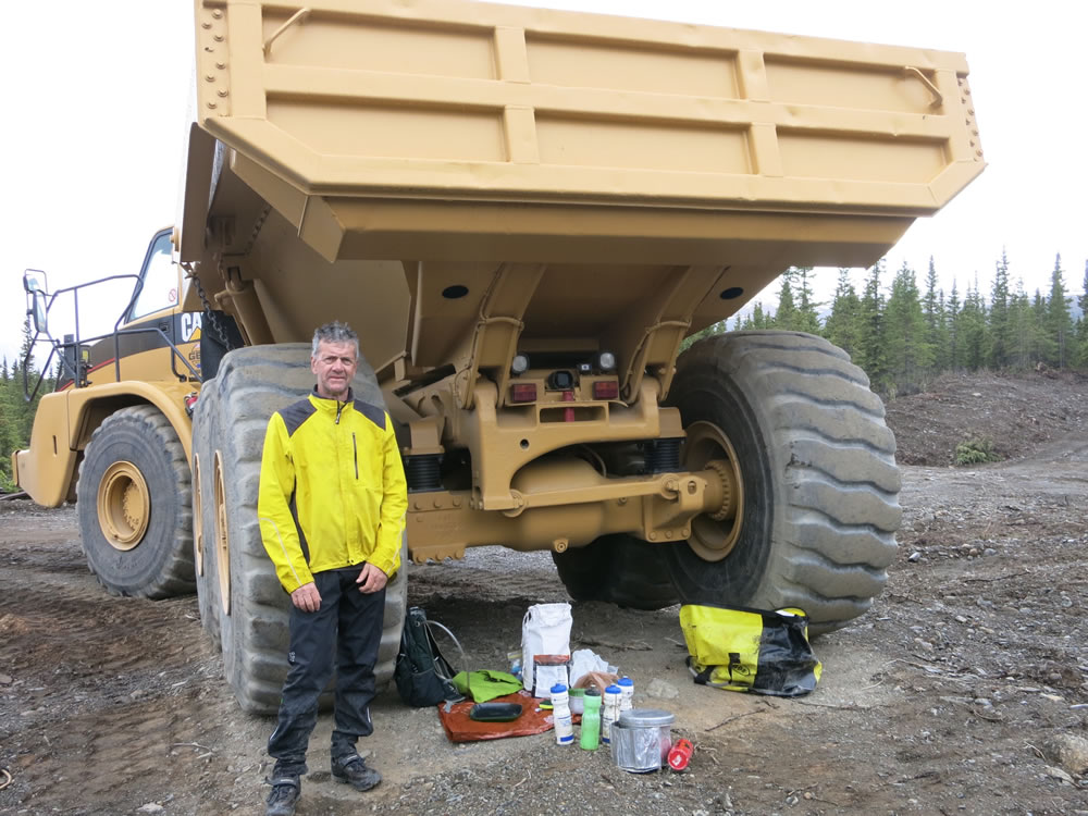 Another gravel pit, but with nice big trucks that made a useful shelter for cooking.