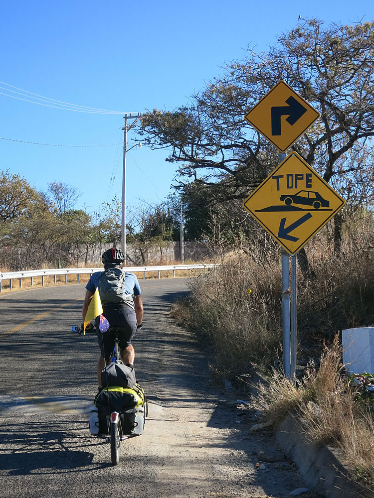 Least favourite thing about Mexico? Huge speed bumps (called 'topes') that are rarely this well signposted ...