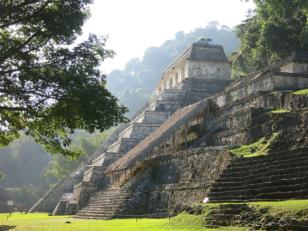 Atmospheric Mayan ruins at Palenque, Chiapas