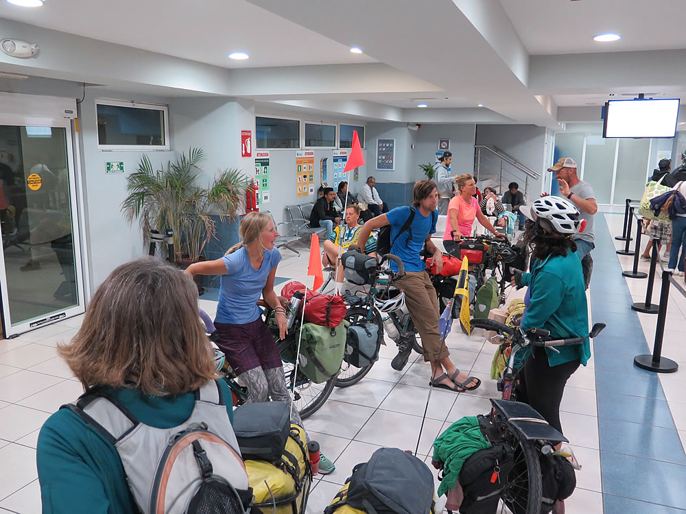 The bunch waiting to board the overnight ferry from La Paz to Mazatlan on the mainland.