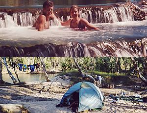 Top: Mataranka Falls, NT. 29/7/00 Bottom: Camp on Ferguson River, NT. 8/8/00