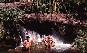 Mark and Ed cooling off in Lawn Hill Gorge 11/7/00