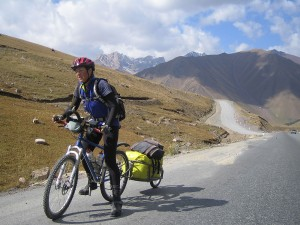 Climbing a high pass in Kyrgystan
