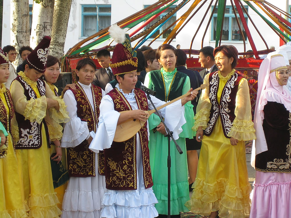 Traditional costume when an important politician visits Zharkent