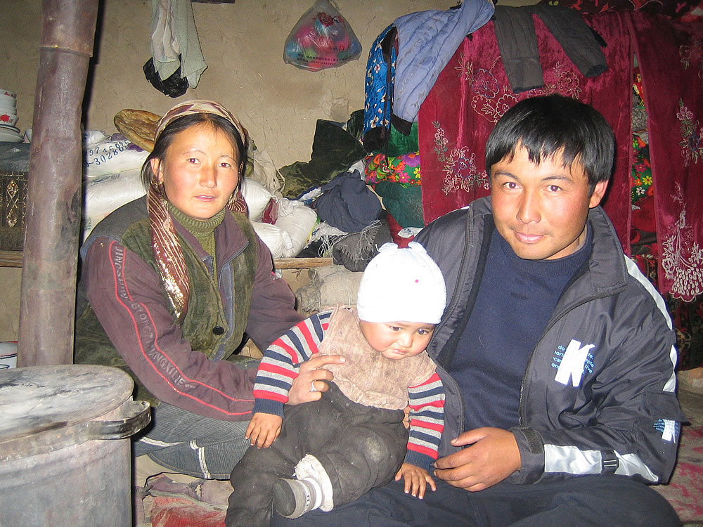 A peasant family who offered us hospitality. Lake Sailimu. Western China