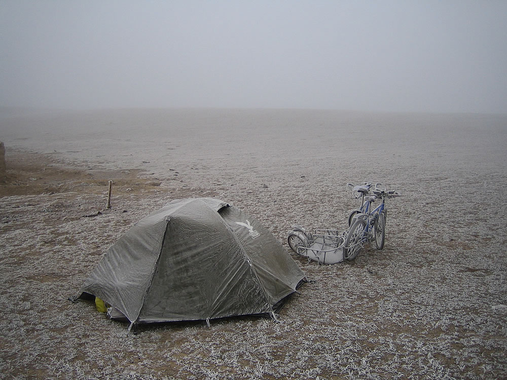 A cold camp near Lake Sailimu Hu. Western China