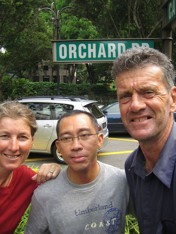 Gaye, Jin and Ed in Orchard St..the shopping mecca of Singapore