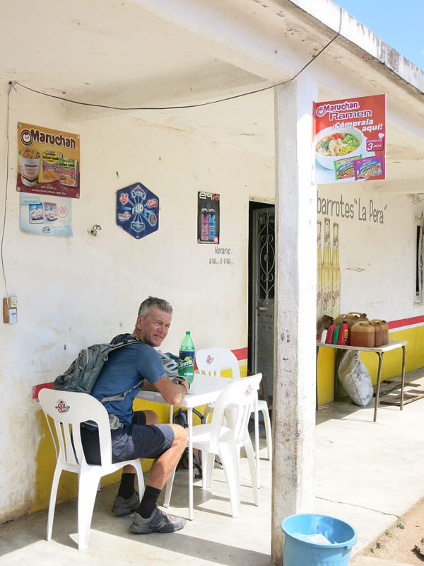 Another day, another stop at a village tienda (shop) for cold drinks
