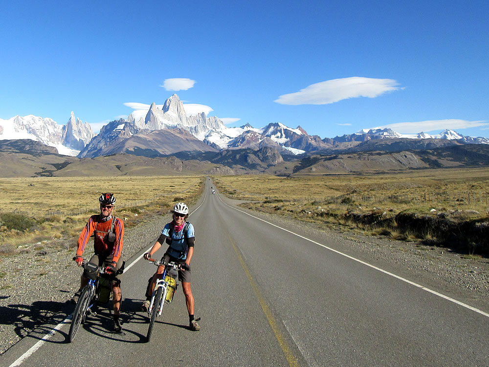 Ed & Gaye in Patagonia with Mt Fitz Roy in the background